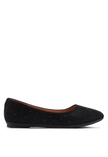 Noveni 黑色 鑽飾平底鞋 ABF88SH7D597B8GS_1
