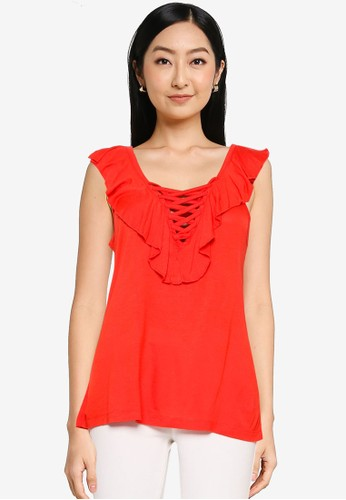 Brave Soul red Frill Neck Top 481E8AAB1A20C5GS_1