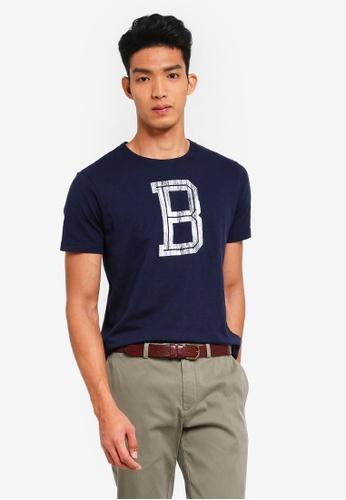 Brooks Brothers 海軍藍色 短袖印花T恤 71741AA34B71D5GS_1