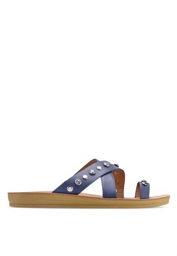 NOVENI 藍色 Studded Cross Sandals 171D7SHBAABDC9GS_1