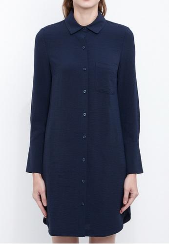 Dkny navy DKNY Women Roll Tab Shirt Dress 47A38AAAB1B905GS_1