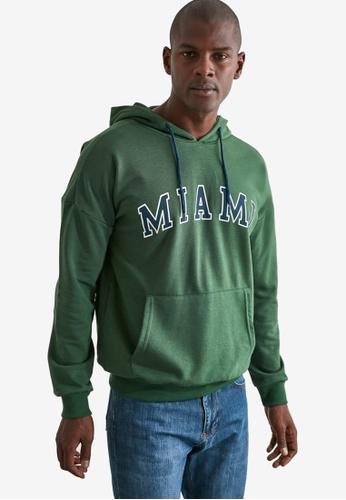 Trendyol green Miami Print Hoodie F09C6AA5EDB434GS_1