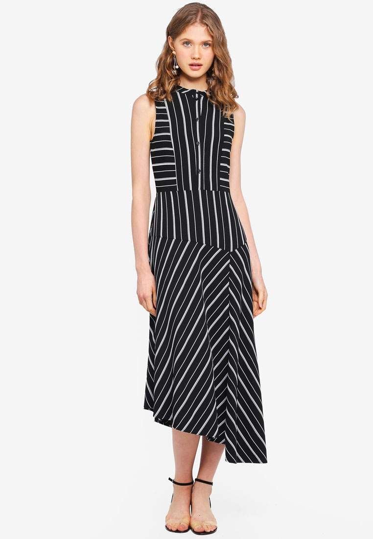 Stripe Stripe Black Dress WAREHOUSE Cutabout rZTFUr