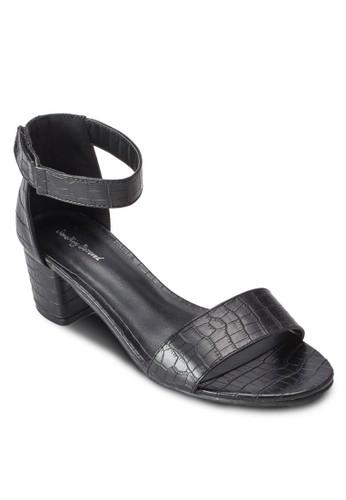 暗紋一字帶繞踝粗跟涼鞋、 女鞋、 鞋SomethingBorrowed暗紋一字帶繞踝粗跟涼鞋最新折價