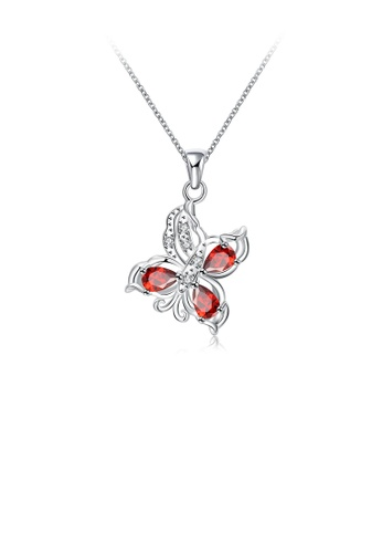 Glamorousky red Fashion Exquisite Butterfly Pendant with Red Cubic Zircon and Necklace 34F30ACD6EFE1CGS_1