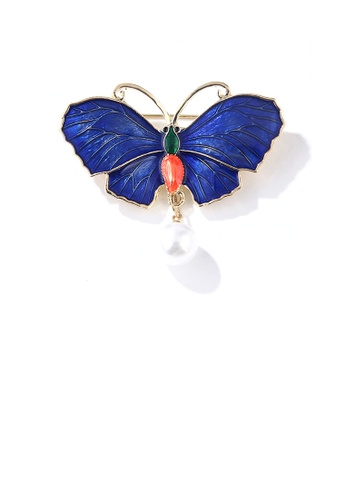 Glamorousky white Fashion Temperament Plated Gold Enamel Blue Butterfly Imitation Pearl Brooch 21E15AC5FCBA4CGS_1