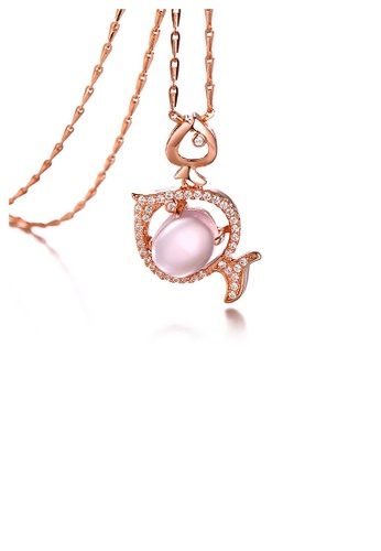 Glamorousky pink Plated Rose Gold Twelve Horoscope Pisces Pendant with White Cubic Zircon and Necklace EA7CAACA2A1B2BGS_1