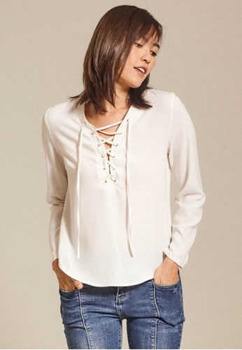 Dressing Paula white Lace Up Crepe Top B8C0EAA1BFD473GS_1