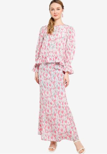 Lubna pink Front Button Ruffle Sleeve Kurung 66464AA6329A61GS_1
