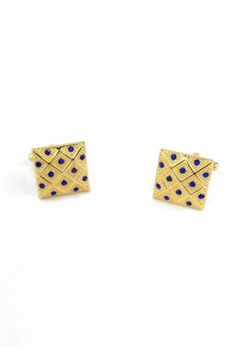 Splice Cufflinks gold Square Gold Luxurious with Blue Polka Dots Cufflinks SP744AC61EYKSG_1