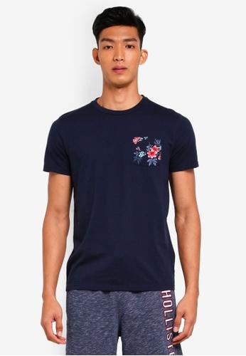 Hollister navy Crew Pocket Solid T-Shirt 482C9AA1BE362DGS_1