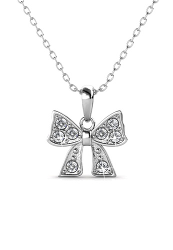 Her Jewellery silver Swarovski® Crystals - Mini Ribbon Pendant (18K White Gold Plated) Her Jewellery 4642DAC38E7CFFGS_1