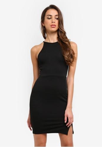 MISSGUIDED black Side Split Bodycon Dress DC236AAE7DB08FGS_1