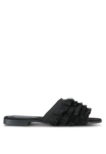 Something Borrowed black Fringed Sliders A1D8ASH9C04424GS_1