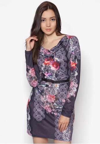 印花腰帶長袖連身裙, zalora taiwan 時尚購物網鞋子服飾, 洋裝