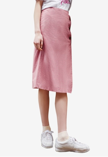 NAIN pink Check Button Wrap Skirt AE1D2AA468233EGS_1