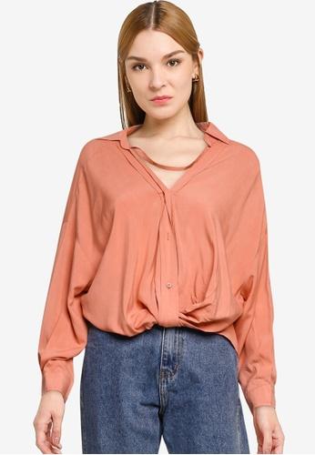 Nichii 粉紅色 Collar Long Sleeves Shirt 388E0AA0CB8A3CGS_1