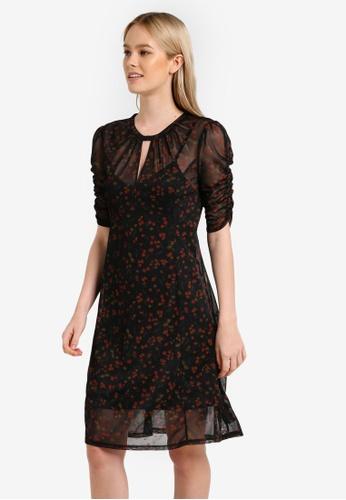 Miss Selfridge black Mesh Ruched Sleeve Dress MI665AA0RN0TMY_1