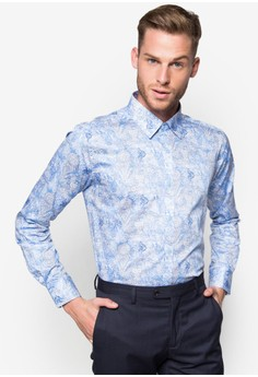 Tapered Fit Long Sleeve Shirt With Tropical Print