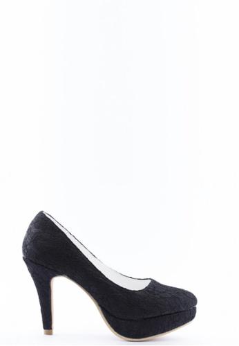 Kings Collection 黑色 花邊高跟鞋 KI513SH52UCDTW_1