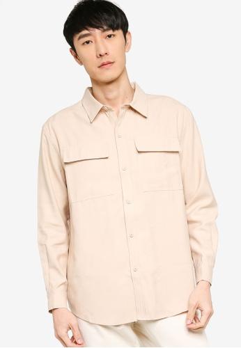 ZALORA BASICS beige Oversized Duo Pocket Utility Shirt 9A789AAB12D2F1GS_1