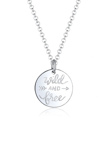 Elli Germany silver Wild Free Wording Circle Necklace EL474AC0RFI0MY_1