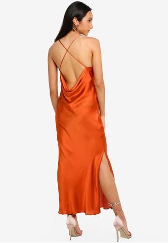 645548b53a384 TOPSHOP orange and brown Plain Satin Slip Dress 862DDAA3E1AA5AGS_1