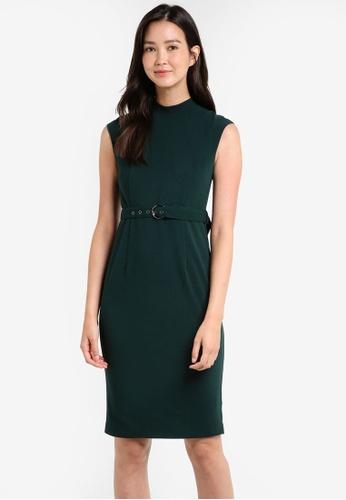 ZALORA green Tailored High Neck Belted Dress D60B1ZZ5B50489GS_1