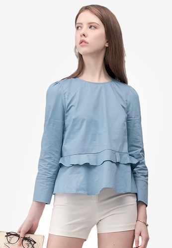 Kodz blue Frill Layer Hem Blouse 557E0AA9CDE293GS_1