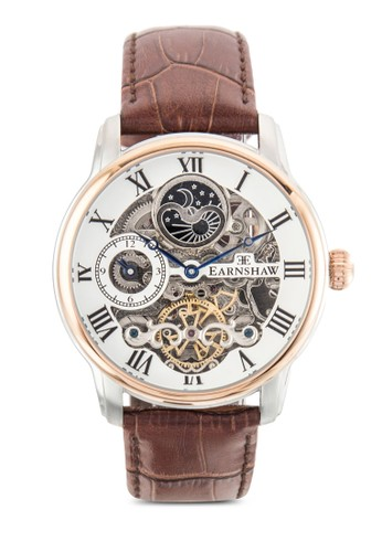 Longitude 齒輪鏤空真皮圓esprit 品質錶, 錶類, 飾品配件