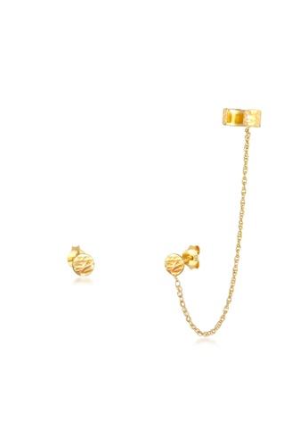 ELLI GERMANY gold Earcuff Plug Organic Structure Earrings 54596AC345B2A7GS_1