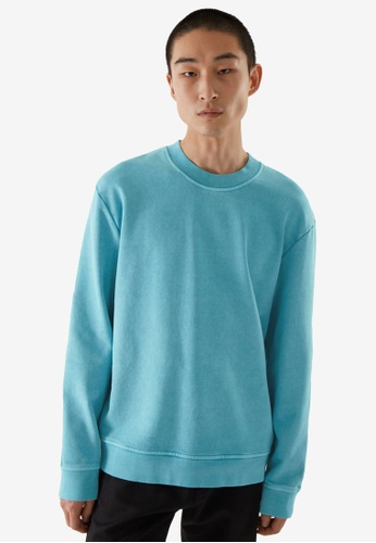 Cos green and blue Washed Sweatshirt BB666AADEC97DDGS_1