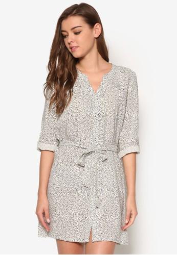 長袖esprit mongkok印花襯衫連身裙, 服飾, 洋裝