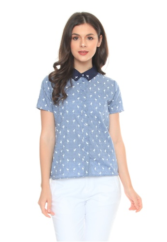 Apple & Eve blue Buttondown Blouse with Flamingo Print 8D416AA356709CGS_1