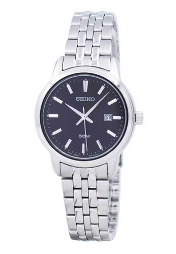 Seiko silver Seiko Black and Silver Stainless Steel Watch 6EF5AAC5B335E0GS_1
