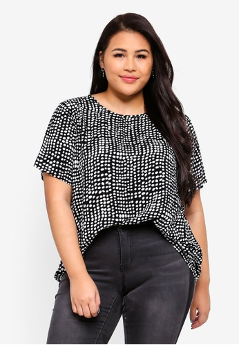 Only CARMAKOMA black Plus Size Brooke Top 1215BAAD06B80AGS_1