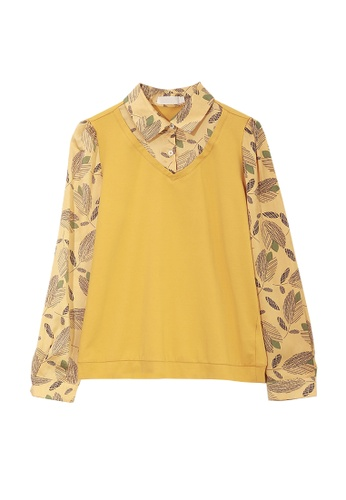 Its Me yellow Two-Layers Print Stitching Top 06C72AA3A31481GS_1