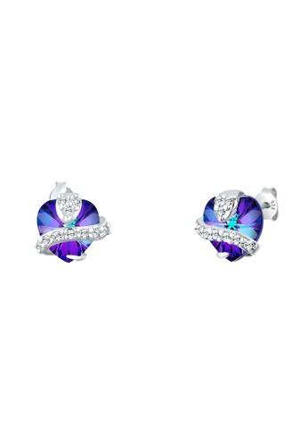 925 施華洛世奇紫心形水晶純銀耳環, 飾esprit台北門市品配件, 耳釘