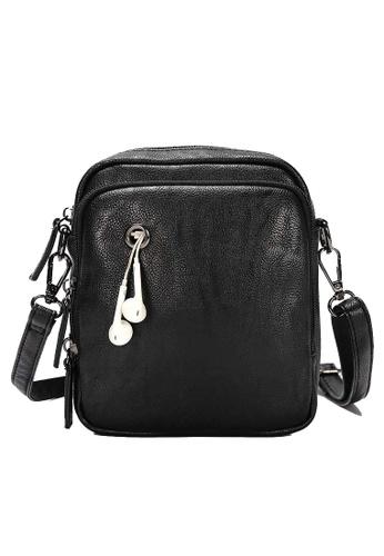 Lara black Plain Zipper Cross Body Bag - Black 8EBBBAC5A69EA4GS_1
