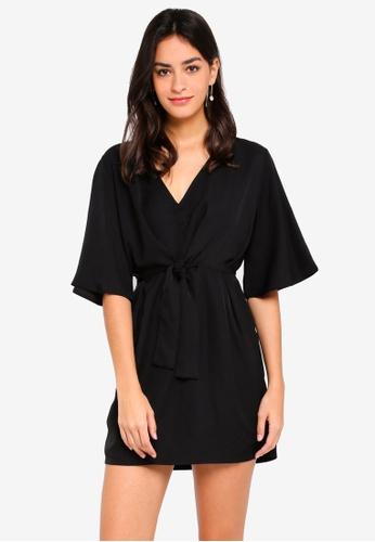 ZALORA black Self Tie Kimono Dress 5A769AAC4910B9GS_1