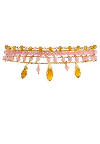 HIPANEMA pink and multi and gold Medium multi chain beaded bracelet Diego pink 1746FAC0A4358CGS_1