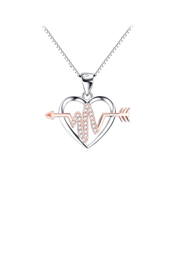 Glamorousky white 925 Sterling Silver Fashion Simple Rose Gold Heartbeat Heart Pendant with Cubic Zirconia and Necklace AFD56AC7AF05E0GS_1