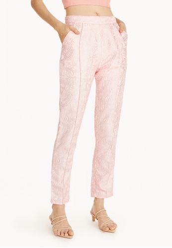 Pomelo pink Paisley Textured Trousers C5123AADCBB3ADGS_1