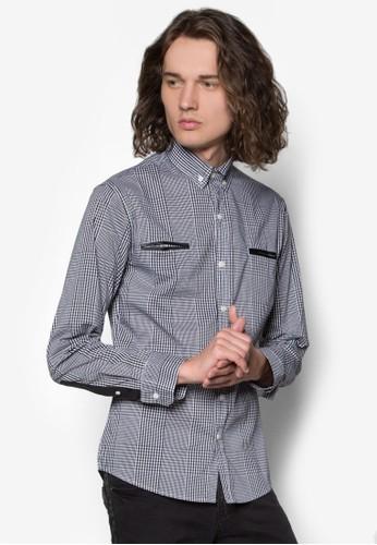 撞色滾邊格紋長袖襯衫, 服esprit 衣服飾, 襯衫