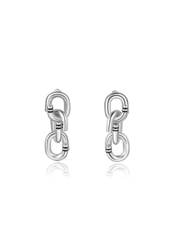 Initial Accessory Locked Chain Earrings