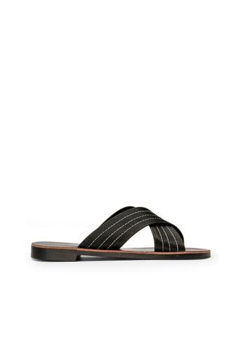 SEMBONIA black SEMBONIA Synthetic Leather Flat Sandal (Black) 0FBB0SHD729951GS_1