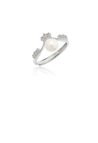 Glamorousky white 925 Sterling Silver Simple Temperament Crown Freshwater Pearl Adjustable Ring with Cubic Zirconia DC71BAC755A232GS_1