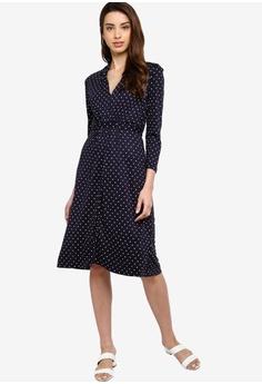 8783592de8fc French Connection Polka Dot Jersey V-Neck Dress S$ 130.90. Sizes 6 8 10