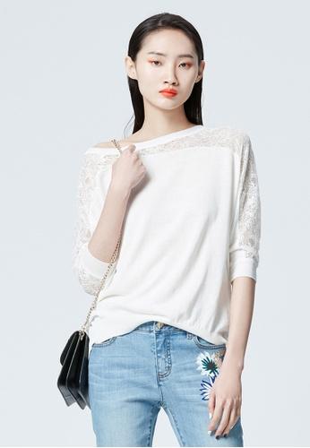 iROO white Basic Knit Top 79E13AAC40DB21GS_1