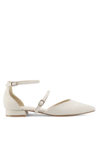 ZALORA 米褐色 Mary Jane Flats With Ankle Strap 9C085SH000ACE0GS_1